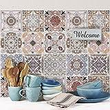 24 (Piezas) Adhesivo para Azulejos 20x20 cm - PS00058 - Carrara - Adhesivo Decorativo para Azulejos para baño y Cocina - Stickers Azulejos - Collage de Azulejos