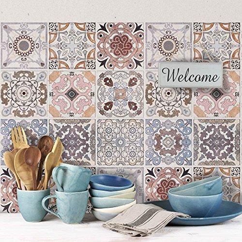 72 (Piezas) Adhesivo para Azulejos 10x10 cm - PS00058 - Carrara - Adhesivo Decorativo para Azulejos para baño y Cocina - Stickers Azulejos - Collage de Azulejos