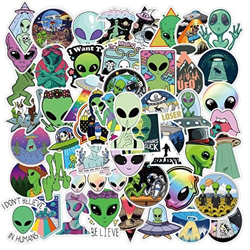 50pcs E.T UFO Vinyls Stickers Laptop Sticker Waterproof Stickers Luggage Skateboard Water Bottle Stickers Decal Bicycle Bumper Snowboard Decorate Gift for Kid. (E.T UFO)