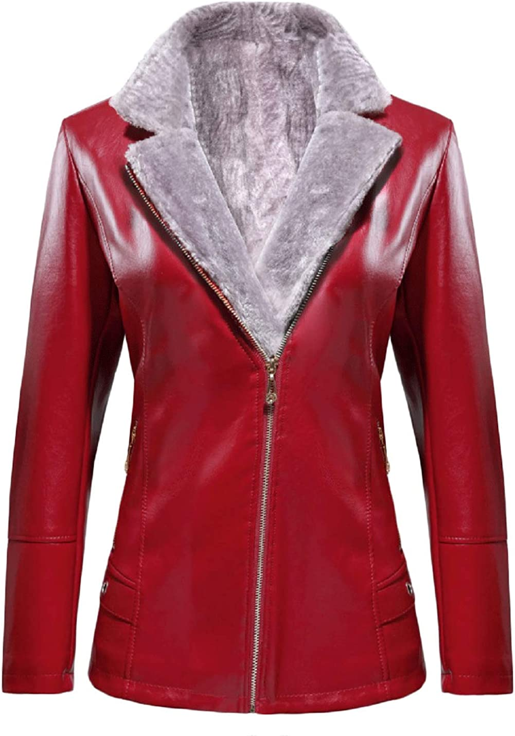 Jenkoon Women's Thicken Fur Lined Faux Leather Jacket Winter Shearling Coat