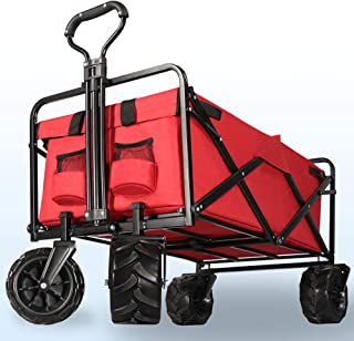 SEEYE Folding Wagon Cart Multi-Function Collapsible Outdoor Utility Wagon Baby Stroller Tool Cart with All Terrain Wheels 265 Lb Suitable for Garden Beach, Park, Sports,Parties -Red