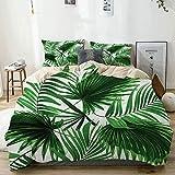 Juego de funda nórdica beige, realista, vívidas hojas de palmera, crecimiento ecológico, exuberante botánica, juego de ropa de cama decorativa de 3 piezas con 2 fundas de almohada, fácil cuidado, anti