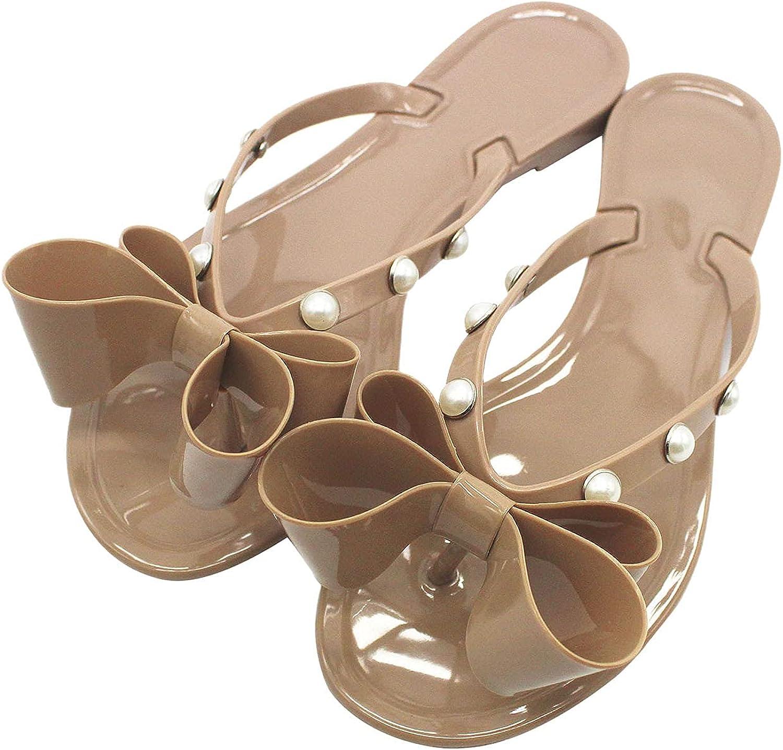 Women Bow Jelly Sandals Women Pearl Slides Flip Flops Comfort Thong Sandal Flat Sandals Clip Toe Jelly Sandals Black Sandals