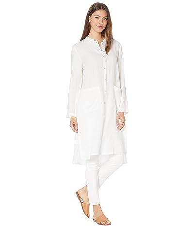 Eileen Fisher Mandarin Collar Long Top in Organic Handkerchief Linen