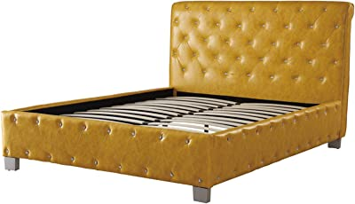 ad3de1c971f0 Benzara BM171738 Polyurethane Leather Upholstered Button Tufted Bed