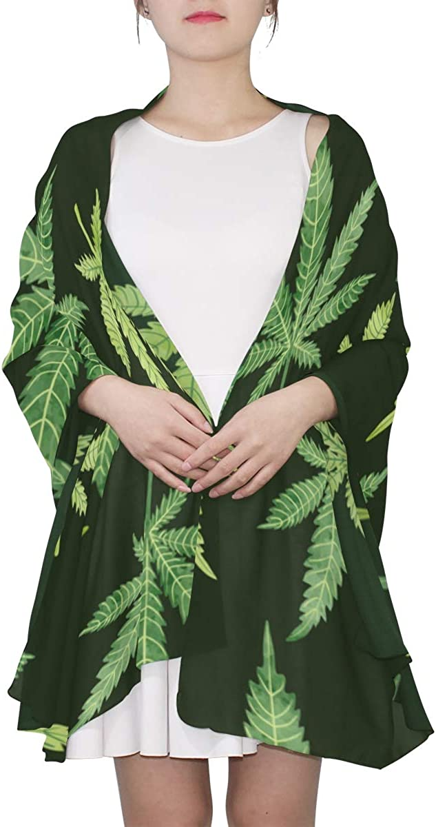 Green Marijuana Leaves Unique Fashion Scarf For Women Lightweight Fashion Fall Winter Print Scarves Shawl Wraps Gifts For Early Spring