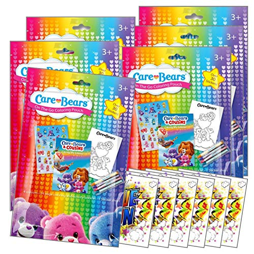 Coloring Pack Party Favors in Resealable Pouches Stickers, Crayons, and Coloring Activity Book, Bundle Includes Separately Licensed GWW Reward Stickers (Care Bears Pack of 6)