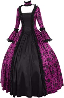 Women Fall Winter Medieval Gothic Retro Floral Print Ball Gowns Gowns Dress