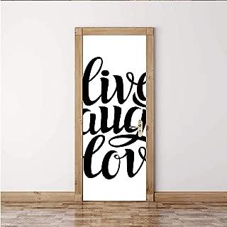 "ALUONI Live Laugh Love Decor Decorative Door Sticker,Simplistic Inspiration Quote Minimalist Featured Typography Design Decorative,1PCS/Set(30""W x 78""H)"