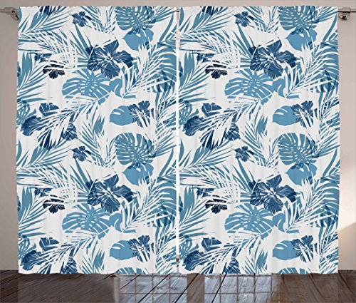 Ambesonne Leaf Curtains, Island Ocean Beach Sea Inspired Hawaiian Flowers Palm Tree Leaves Art Print, Living Room Bedroom Window Drapes 2 Panel Set, 108 W X 63 L Inches, Blue Lilac