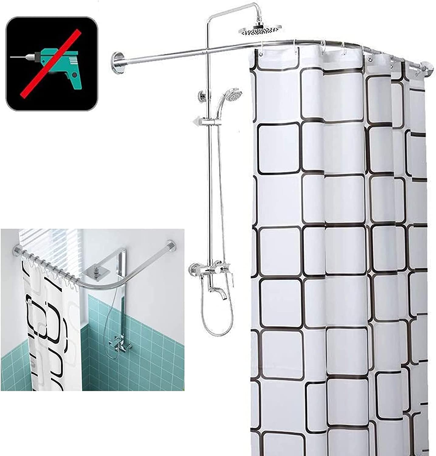 Shower Curtain Rod L Shape Indefinitely Drilling Stainless Luxury Steel Without Tele