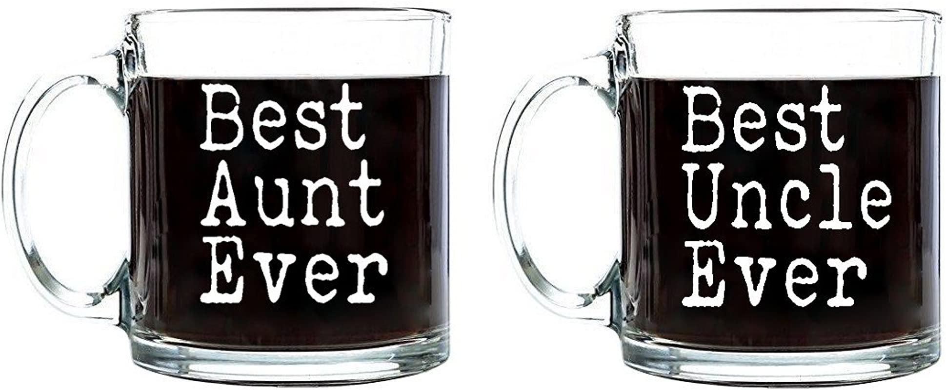 Best Aunt Uncle Ever Mother S Father S Day Birthday Gift For Aunt Uncle Coffee Tea Beverages Clear Glass Mugs 13 Oz Set Best Aunt Uncle Ever