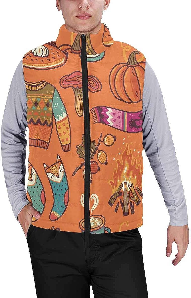 InterestPrint Men's Outdoor Casual Stand Collar Sleeveless Jacket Autumn Leaves Navy