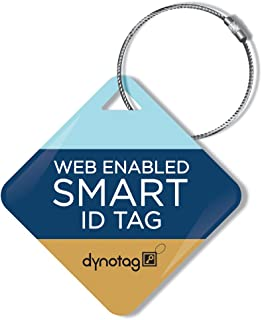 Dynotag Web Enabled Smart ID Tag, Delue Steel tag with Braided Steel Loop, with DynoIQ & Lifetime Recovery Service. Diamond (Stripes)