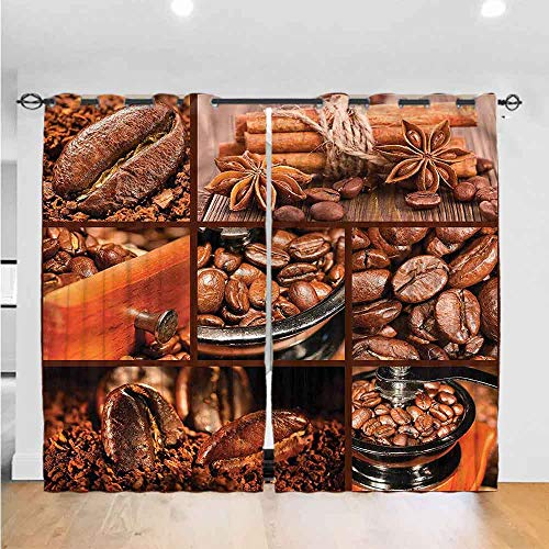 "AbstractBedroom curtains living room curtains kitchen curtains office curtains Grommet Curtain Kitchen Window Antique Grinder Coffee Beans The best choice for bedroom and living room W96"" x L84"""