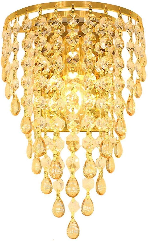 Xiao Fan  Golden Chrome TV Hintergrund Kristall Ei Hngen Wandleuchten Schlafzimmer Bedsides Korridor Wandleuchte Europischen Wohnzimmer Wandleuchten (Bernstein)