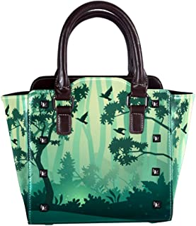 Leather Handbags Tote Satchel Purse with Shoulder Strap for Women Girls Ladies with Birds Trees In Forest