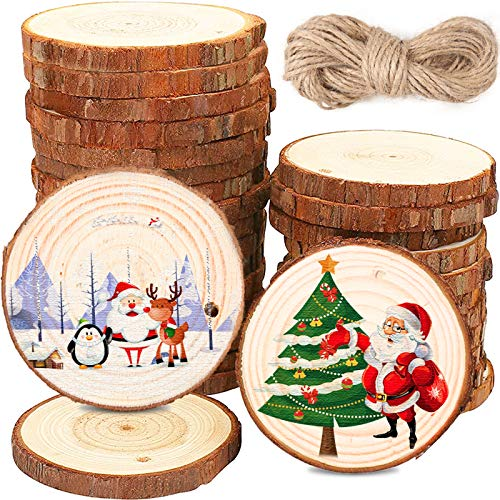 BEYAOBN 30Pcs Rodajas de Madera Natural 6-7 cm Discos de Madera Rebanada Círculos sin acabado Decoracion Navideña con agujero y 10M cuerda para Manualidades