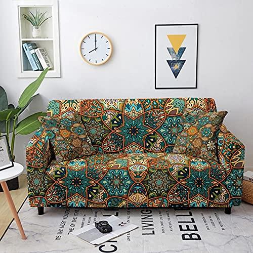 ASCV Bohemia Mandala Flor Funda elástica Funda de sofá seccional para Sala de Estar Funda de sofá seccional 1/2/3/4 plazas A6 1 Plaza