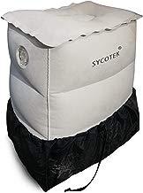 SYCOTEK Reposapiés Inflable Portable 2 Boquillas Grandes Ocultas 3 Altura Ajustable sin Deflación, Almohada para Niños o Reposapiés de Viaje Inflable para el Asiento del Coche, Gris