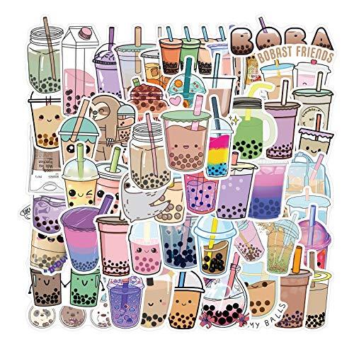 50 pegatinas de té de leche con perlas de dibujos animados lindo graffiti cuaderno taza de agua decoración monopatín impermeable pegatinas