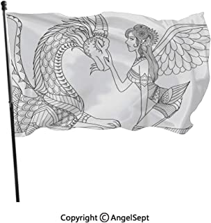 AngelSept Polyester Flags Double Stitched with Grommets,Drawing of a Fairy Caressing a Dragon Ornamental Details Flowers Wings Artwork Black White,3x5 ft,Flags for Outdoor Indoor Home Decor
