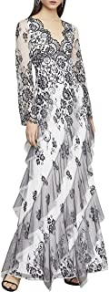BCBG Max Azria Womens Asymmetrical Scalloped Floral Lace Ruffled Long Sleeve Gown