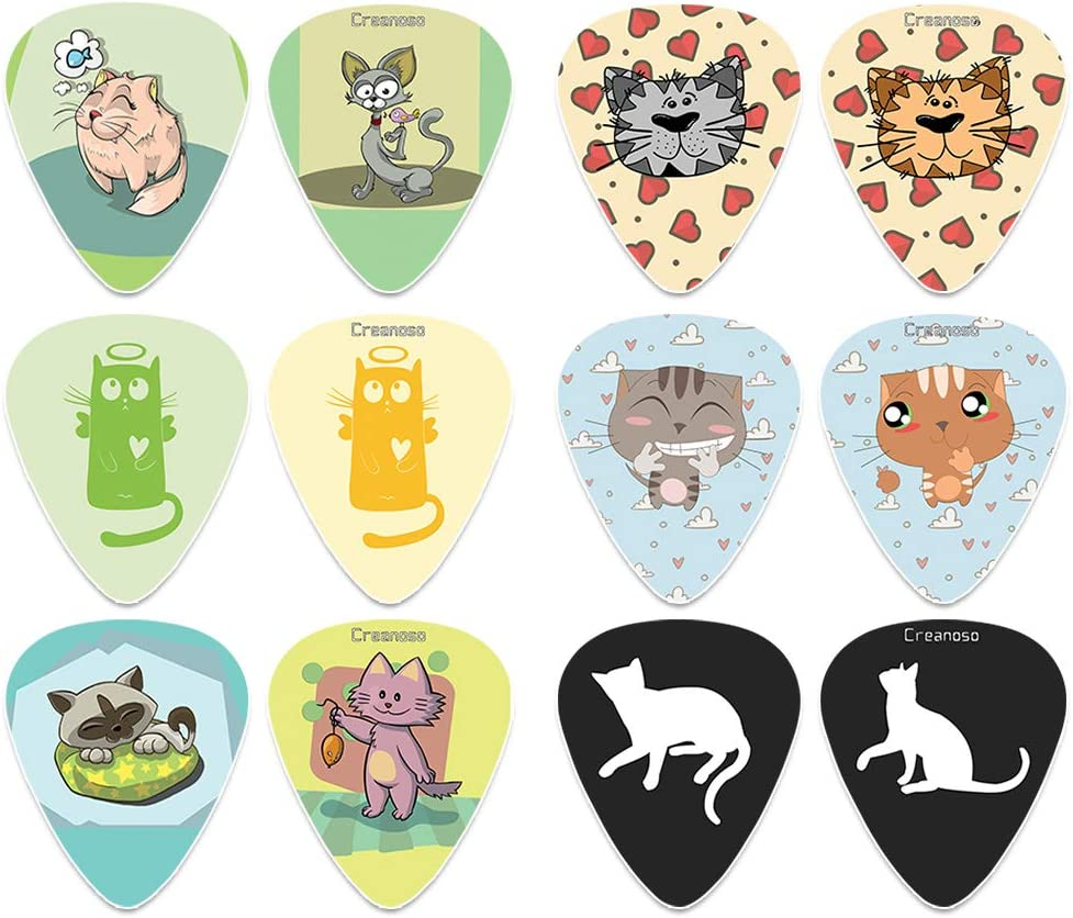 Creanoso Cat Guitar Picks Free shipping anywhere in the nation 12-Pack - Music Gifts Unique Manufacturer direct delivery Guita