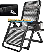 High-quality recliner Deckchair Sun Lounger Oversized Zero Gravity Recliner, with Cup Holder Extra Wide Adjustable Patio Lounge Chair Foldable Support 440lbs (Color : White)