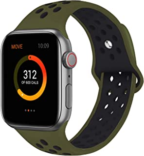 SMEECO Compatible with Apple Watch Replacement Band 44mm 42mm Sport Breathable Silicone Wrist Straps Compatible with iWatch Series 5/4/3/2/1(Olive Green/Black,Small)