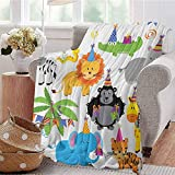 Kids Birthday Bedding Microfiber Blanket Jungle Wild Safari Animals in Cartoon Pattern with Party Hats Flags Image Super Soft and Comfortable Luxury Bed Blanket W57 x L74 Inch Multicolor
