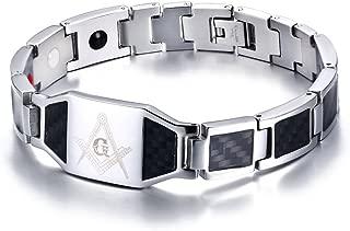 Stainless Steel Black Carbon Fiber Enamel Masonic...