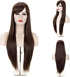 MelodySusie Dark Brown Long Straight Wig for Women, 31 inches Silky Long Straight Wig with Bangs Synthetic Wig Hair Halloween Heat Resistant Natural as Real Hair with Free Wig Cap, Dark Brown