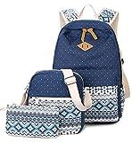 DCCN Canvas Rucksack 3 Teile Set Schulrucksack Mädchen Schultaschen-Sets Wellenpunkt Blau