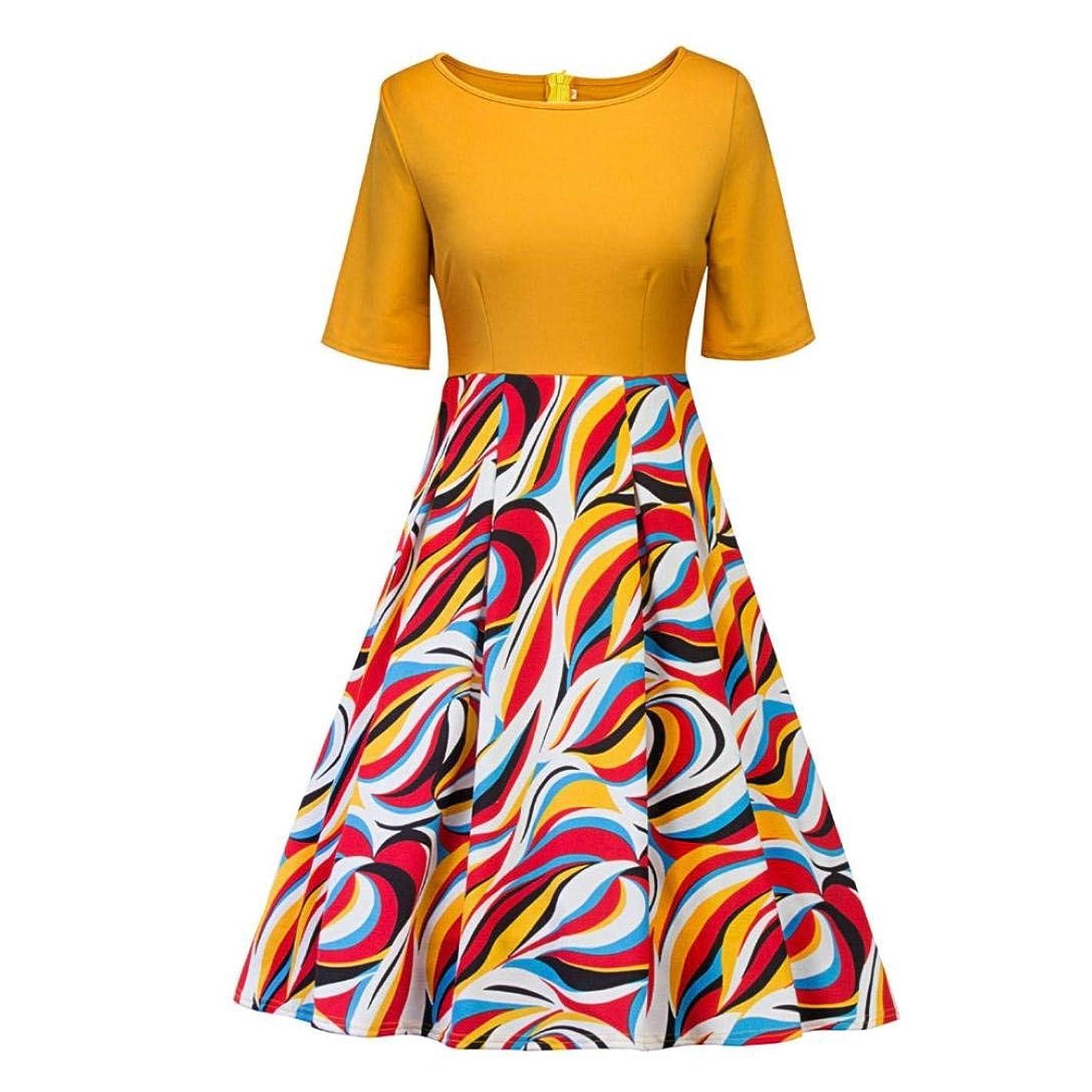 Women Vintage Dresses with Sleeves,Lelili Vintage Floral Printed Patchwork Half Sleeve Crewneck Swing A-Line Dress