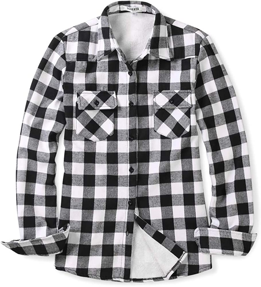 OCHENTA Women's Thick Industry No. 1 Flannel Shirts Plaid Quilted Sleeve Long Super sale