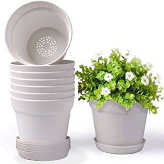HOMENOTE Pots for Plants, 8 Pcs 6 inch Plastic Planters with Multiple Drainage Holes and Tray - Plant Pots for All Home Ga...