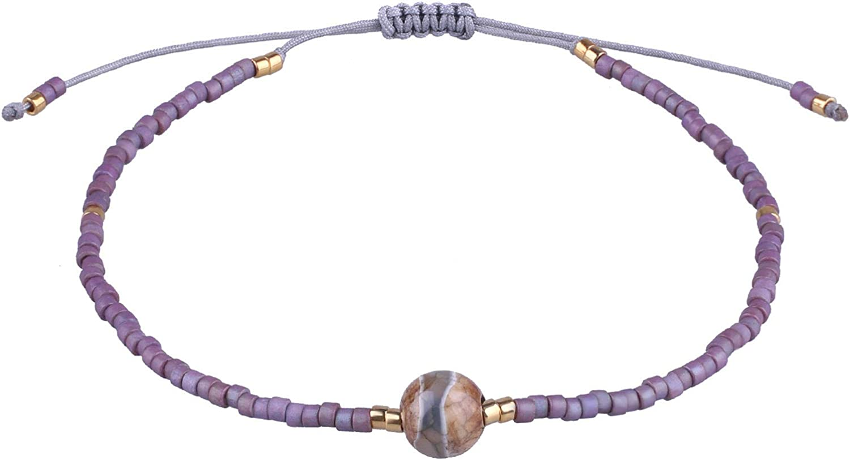 KELITCH New Agate Miyuki Seed Beads Charm Bracelet for Women Handmade Wrap Thin Strand Link Bangle Adjustable Cuff Gift