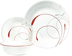 Corelle Vitrelle Splendor Dinnerware Set, 18 Pieces - White & Red