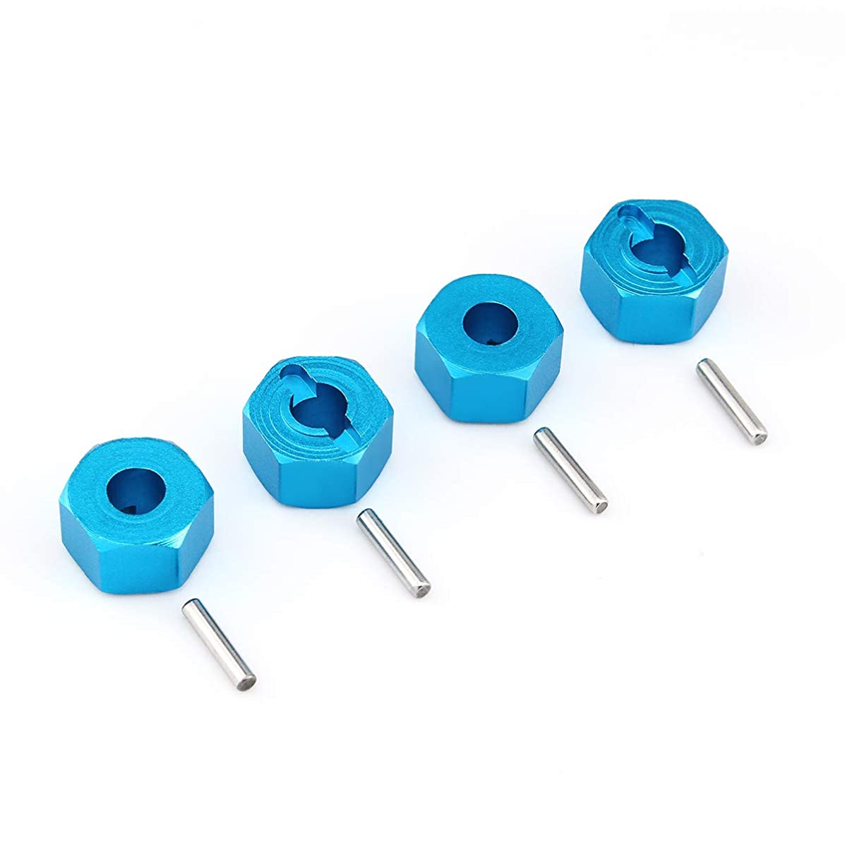 GDOOL Hex Wheel Hub Mount 12mm, Aluminum 7mm Thick with 2x10mm Stub Axle Pins for Traxxas 1/10 Slash 4x4 & HQ 727 RC Cars Replacement Upgrade Parts (4PCS Blue)