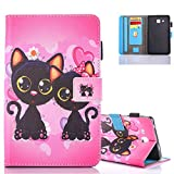 Aeeque Housse Samsung Tab A6 7.0 Cuir, Cute Chats Flip Support Etui a Rabat Coque pour Tablette...