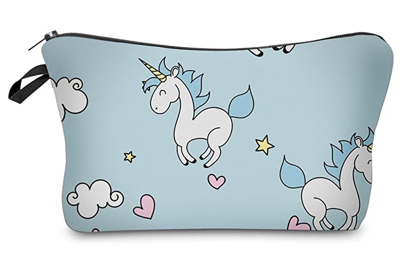 StylesILove Unique Unicorn Collection Pouch Travel Case Cosmetic Makeup Bag (Baby Blue)