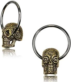 Chic-Net Piercing universale a sfera con anello argentato, in ottone dorato, con teschio, per setto nasale, helix, trago