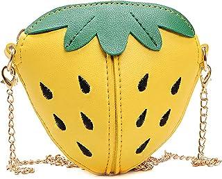 Segreto Girls Strawberry Purse Chain Small Crossbody Bag Cell Phone Wallet Bag Shoulder Bag Handbag Fruit Shaped