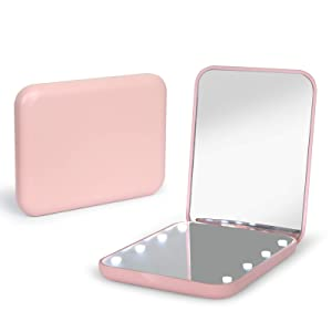 Kintion Pocket Mirror,1X/3X Magnification LED Compact Travel Makeup Mirror,Compact Mirror with Light,Purse Mirror, 2-Sided ,Portable,Folding,Handheld,Small Lighted Compact Mirror for Gift,Pink