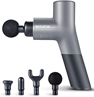 تفنگ ماساژ عضلانی ، دستگاه ماساژور ارتعاش دستی دستی WASAGUN با 5 سرعت قابل تنظیم ، 4 پیوست ، بی سیم برق مجهز به ماساژور کامل بدن و کیف قابل حمل