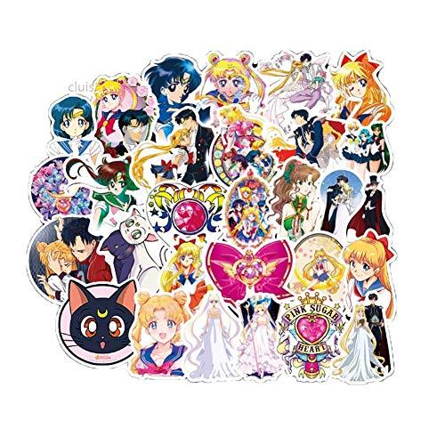 SGOT cluis Anime Aufkleber, Wasserdicht Vinyl Stickers, Anime Decals für Auto Motorräder Gepäck Skateboard Laptop, Große Sammlung von Japanischen Anime(50 STK Sailor Moon)