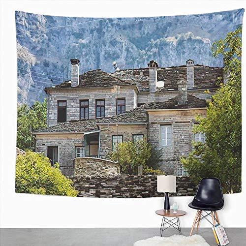 Y·JIANG Tapiz de paisaje de Grecia, antiguas casas de piedra en el pueblo Papingo de Zagorochoria, tapiz decorativo grande de pared, manta para colgar en la sala de estar, dormitorio, 60 x 50 pulgadas