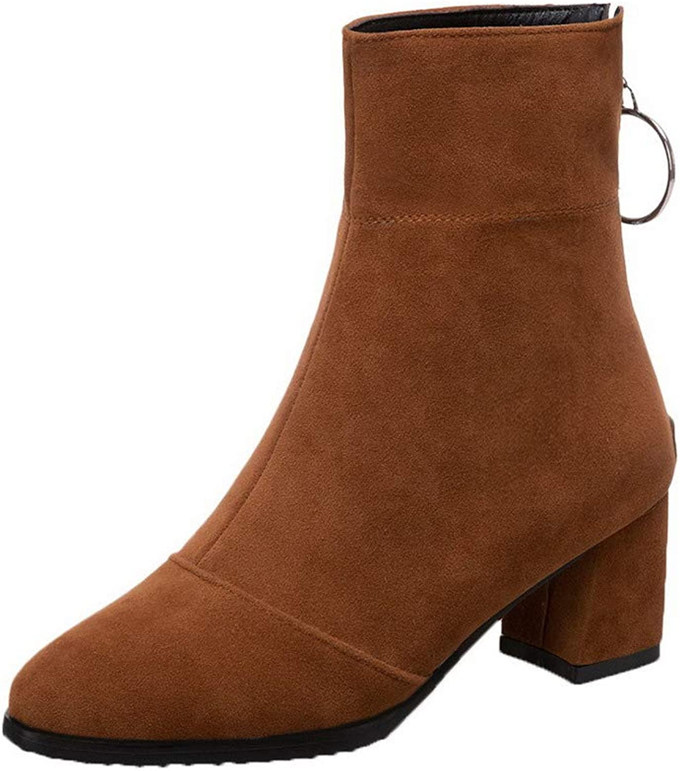 AmoonyFashion Women's Round-Toe Kitten-Heels Frosted Low-Top Solid Boots, BUSXT114532