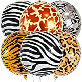 Big 22 Inch Safari Animal Print Balloons - Pack of 6 | Large 22 Inch 360 Degree 4D Sphere Round Metallic Print Balloons Jungle | Animal Balloons for Cheetah Print Decorations, Jungle Theme Baby Shower